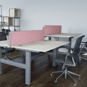 height adjustable desk with dividers