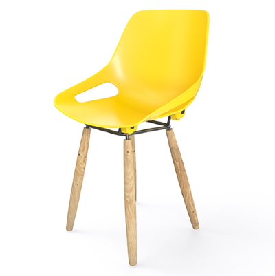 yellow chair with wooden legs