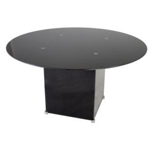 Circular Meeting Table in Black Glass