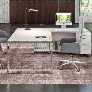 Executive glass desk in satin white glass
