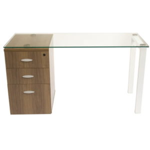Glass Desk with Walnut Drawers