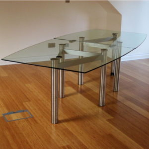 Clear Glass Boardroom Table with Chrome Legs