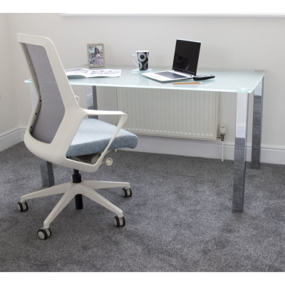 Glass Work Desk with Chair