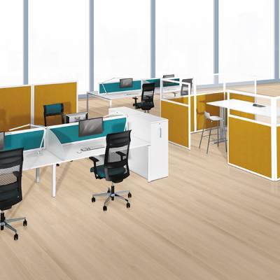 Office Dividers in Orange and Green
