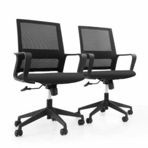 Black Mesh WFH Chair with integrated armrests