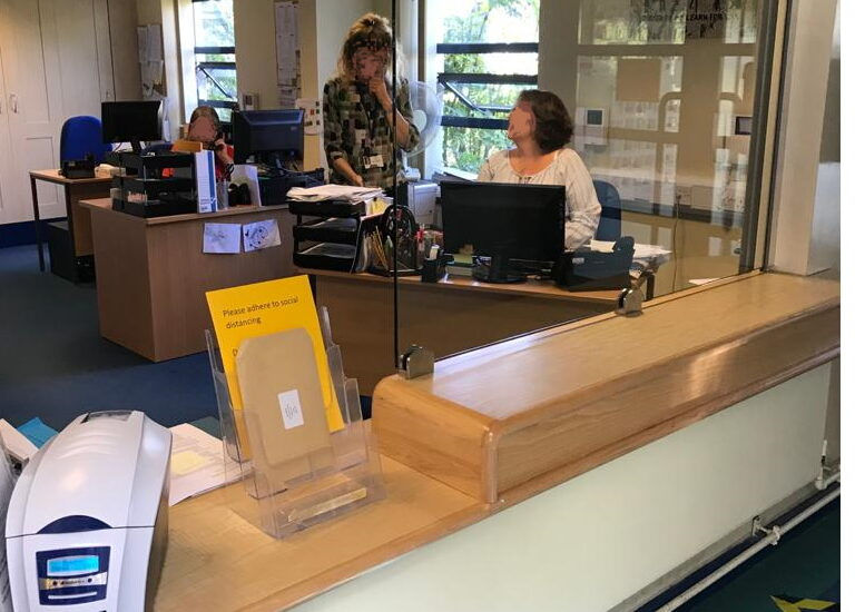 Barrier Screens on Reception Counter