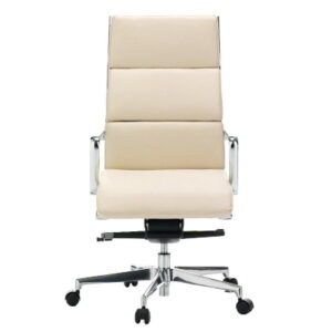 Faux Leather Office Chair in White with Chrome Frame