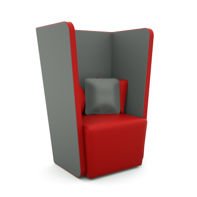Single Seat Acoustic Sofa in Red & Grey Fabric
