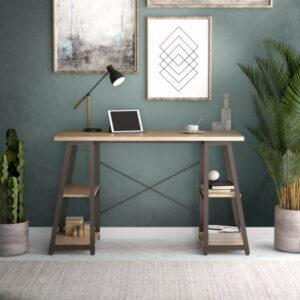 Small Home Office Desk in Oak & Brown