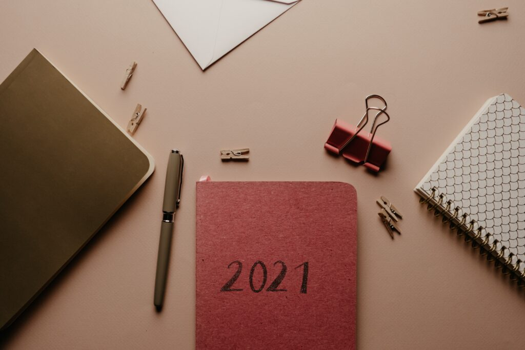 2021 diary setup on desk   Future of the office, reflections