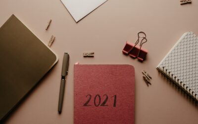 2021 diary setup on desk