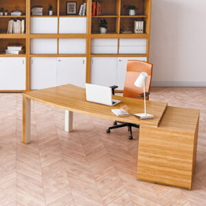 Curved Desk with Storage shown in Light Oak