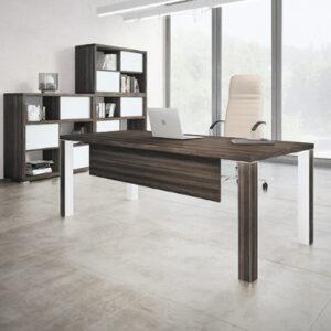 Modern Directors Desk in Royal Brown Oak
