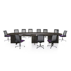 Large Meeting Table in dark wood with chairs